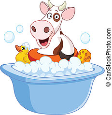 presa, mucca, bagno