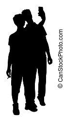 presa, selfie, silhouette