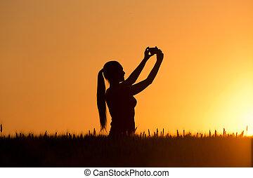 presa, selfie, silhouette, ragazza