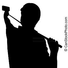 presa, selfie, silhouette, vettore