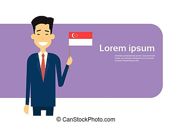 presa, singaporean, affari, spazio, bandiera singapore, asiatico, uomo affari, copia, bandiera, uomo