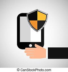 presa, smartphone, scudo, protezione, mano