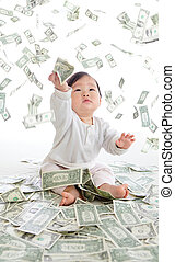 presa, soldi, bambino, pioggia, aria