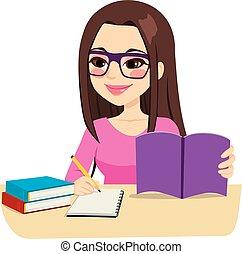 presa, studiare, note, ragazza