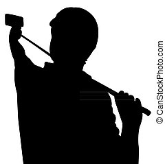 presa, vettore, silhouette, selfie