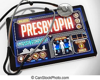 presbyopia, tablet., monde médical, exposer, diagnostic