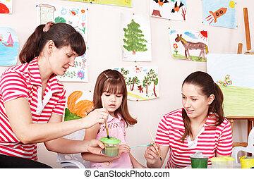 preschool., ילד, מורה, לצבוע