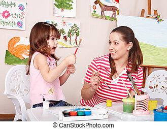 preschool., קטן, לצבוע, ילדה, מורה