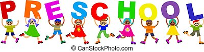 A group of happy and diverse children spelling out the word PRESCHOOL.