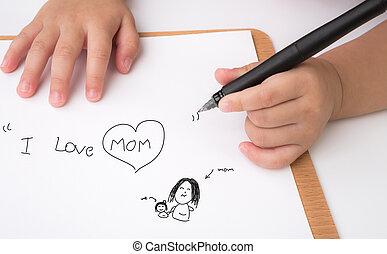 "Preschool age child writing "" I love mom "" on white paper"