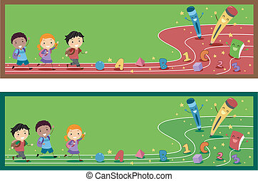 Banner Illustration with a Preschool Theme