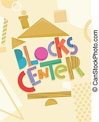 preschool, blokjes, centrum, illustratie