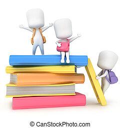 Preschool Books - 3D Illustration of Kids Hanging Around a...
