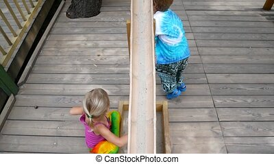 Preschool children play in the playground. - Preschool...