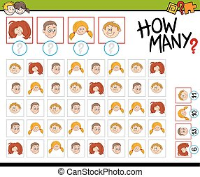 preschool counting activity - Cartoon Illustration of...