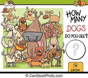 preschool counting task with dogs - Cartoon Illustration of...