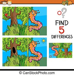 preschool differences game - Cartoon Illustration of Finding...