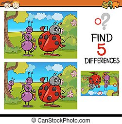 preschool differences task - Cartoon Illustration of Finding...
