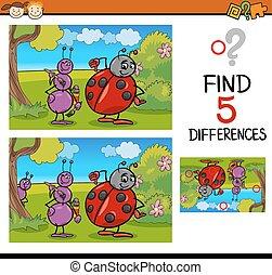 preschool differences task - Cartoon Illustration of Finding...