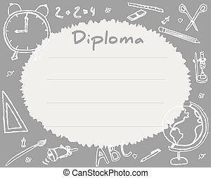 Preschool Elementary school. Kids Diploma certificate background design template. School diploma. Drawn in chalk