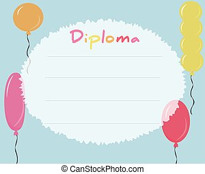Preschool Elementary school. Kids Diploma certificate background design template. School diploma. Frame from colored balls.