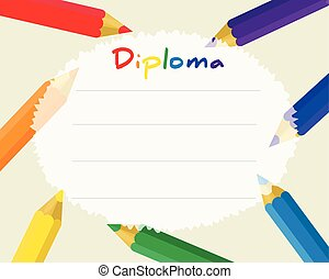 Preschool Elementary school. Kids Diploma certificate background design template. School diploma. Frame from color pencils.