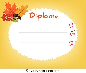 Preschool Elementary school. Kids Diploma certificate background design template. School diploma. Autumn background with leaves.