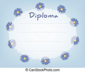 Preschool Elementary school. Kids Diploma certificate background design template. School diploma. Summer background with cornflowers