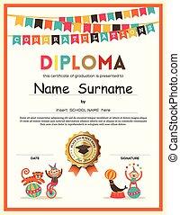 Preschool Elementary school Kids Diploma certificate...