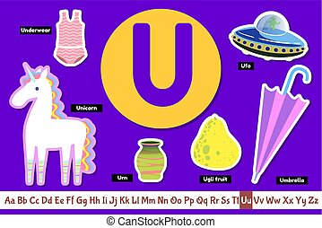 Preschool english alphabet. Educational poster for children. Set adorable animals, fruits vegetables and things with letter U. Play and learn.