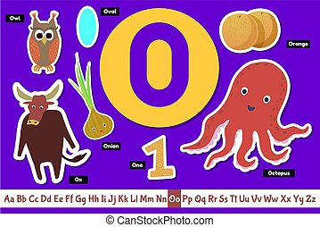 Preschool english alphabet. Educational poster for children. Set adorable animals, fruits vegetables and things with letter O. Play and learn.