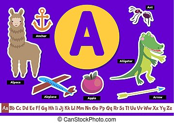 Preschool english alphabet. Educational poster for children. Set adorable animals, fruits vegetables and things with letter A. Play and learn.