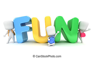 Preschool Fun - 3D Illustration of Kids Posing with the Word...