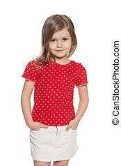 Preschool girl against the white