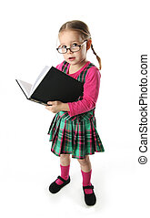 Cute preschool age girl wearing eyeglasses carrying a stack of heavy books