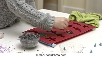 Preschool girl making soap, manual work - Little girl,...