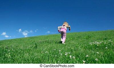 Preschool girl rise on hill - preschool girl rise on hill...