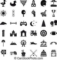 Preschool icons set, simple style
