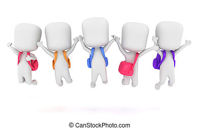 Preschool Jump Shot - 3D Illustration of Preschool Kids...