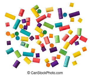 Preschool kids, creativity and fun. Colorful wooden blocks on white background