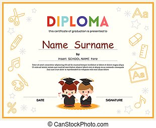Preschool Kids Diploma certificate design template