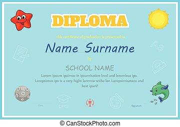 Preschool Kids Diploma certificate design template