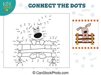 Preschool kids game with connect the dots game vector illustration