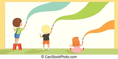 Preschool kids painting with brushes and paints on the wall, back view vector Illustration