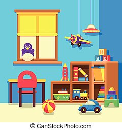 Preschool kindergarten classroom with toys cartoon vector illustration