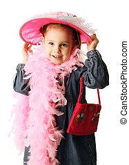 preschool, meisje, het spelen kleding omhoog