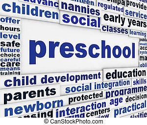 Preschool message background. Child education poster design