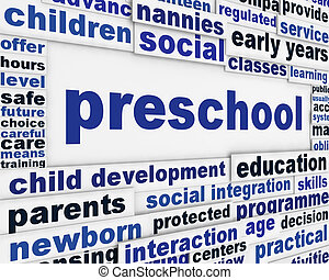Preschool message background. Child education poster design
