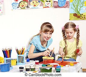 preschool., peinture, enfant