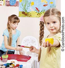 preschool., peinture, enfants